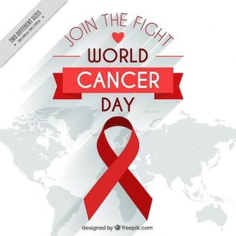 Sfondo nastro rosso e mappa di giornata mondiale contro il cancro
