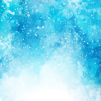 Sfondo natale con i fiocchi di neve su una texture acquerello