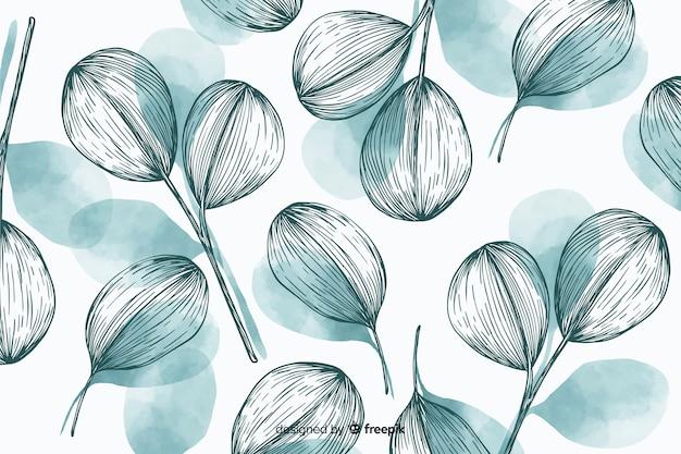 Sfondo natura con foglie disegnate a mano