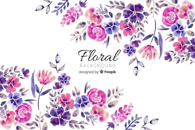 Sfondo naturale con fiori ad acquerelli