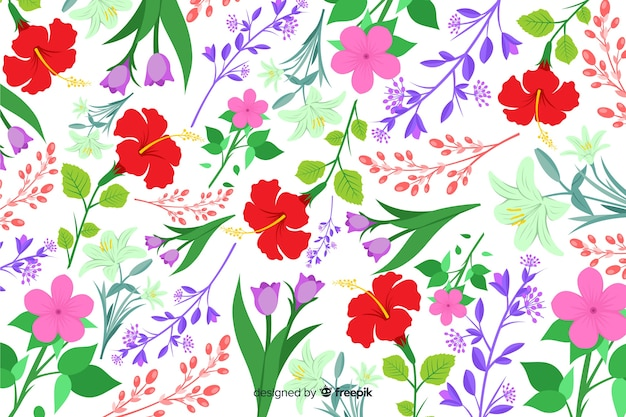 Sfondo naturale con fiori colorati