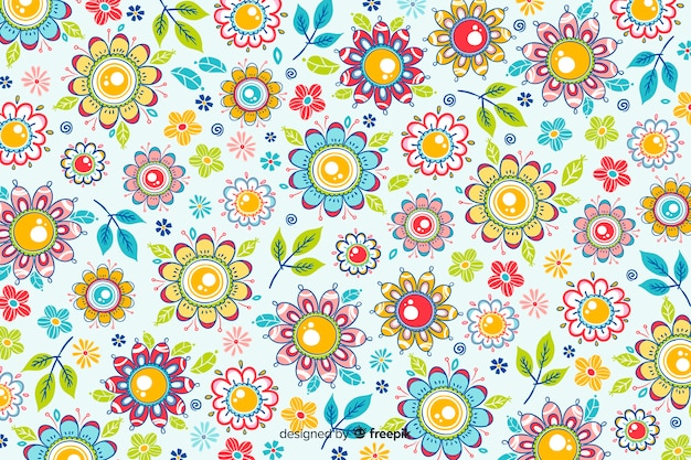 Sfondo naturale con fiori disegnati a mano