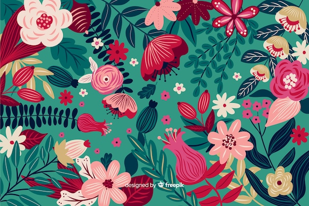 Sfondo naturale con fiori esotici colorati