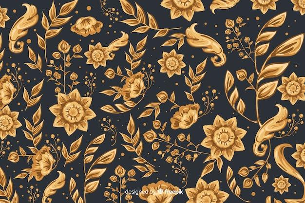 Sfondo naturale con fiori ornamentali dorati