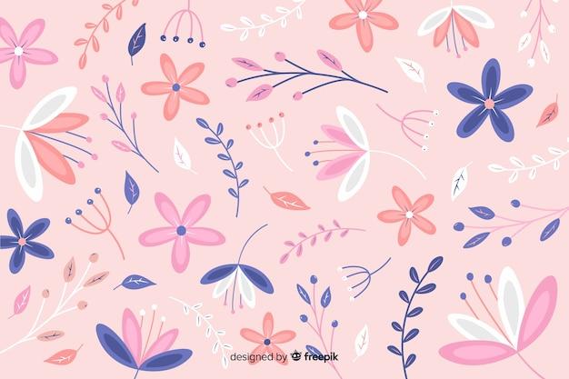 Sfondo naturale con fiori piatti