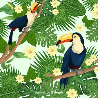 Sfondo naturale con fiori tropicali