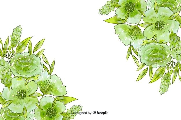 Sfondo naturale dell'acquerello con fiori
