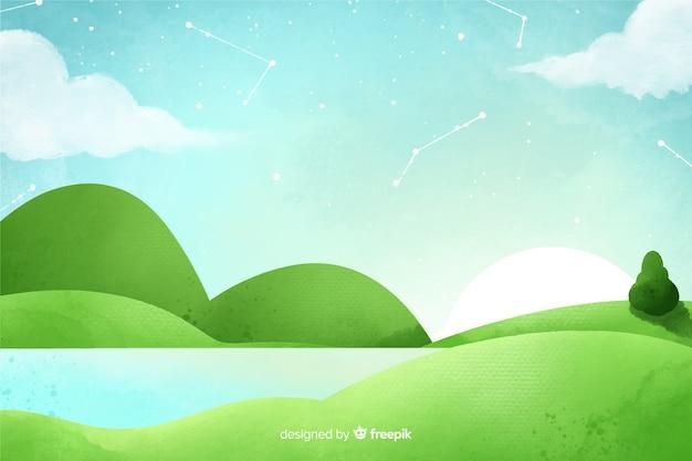 Sfondo naturale dell'acquerello con paesaggio