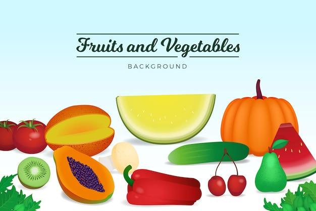 Sfondo naturale di frutta e verdura