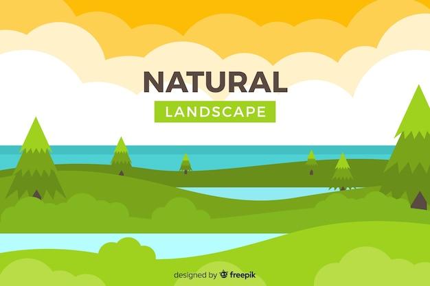 Sfondo naturale piatto con paesaggio