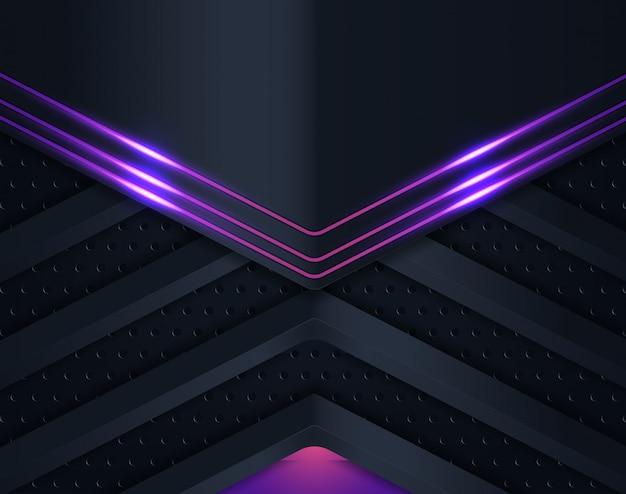 Sfondo nero carta tagliata con viola brillante