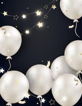 Sfondo nero celebrazione con palloncini di perle bianche, ghirlanda, luci, serpentino d'oro, scintillii, coriandoli. modello per biglietto d'auguri, inviti, poster per vendite, promozioni venerdì nero. .