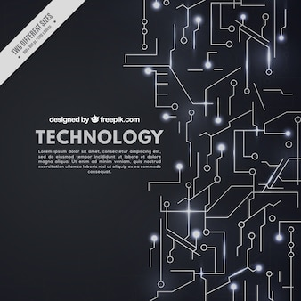 Sfondo nero con circuiti tecnologici