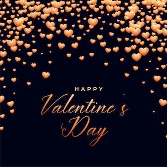Sfondo nero con cuori cadenti giorno di san valentino
