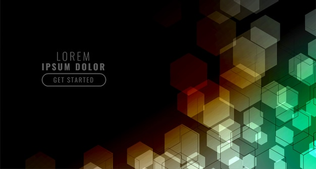 Sfondo nero con griglia esagonale colorata