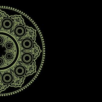 Sfondo nero con ornamento rotondo verde delicato - stile arabo, islamico, orientale