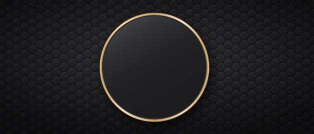 Sfondo nero con piastrelle esagonali e cornice rotonda dorata