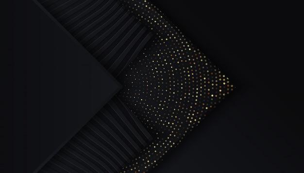 Sfondo nero con strati sovrapposti punti luce dorati