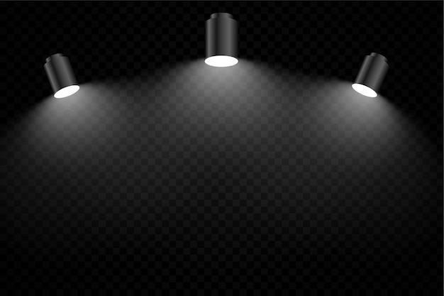 Sfondo nero con tre luci di messa a fuoco realistiche