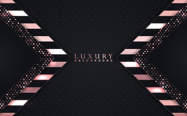 Sfondo nero di lusso con decorazioni in oro rosa
