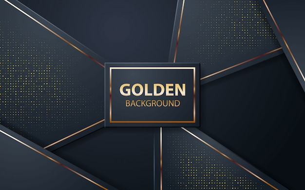 Sfondo nero di lusso con glitter dorati