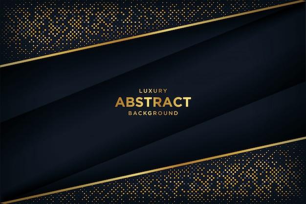 Sfondo nero di lusso con una combinazione di punti d'oro incandescente con stile 3d.