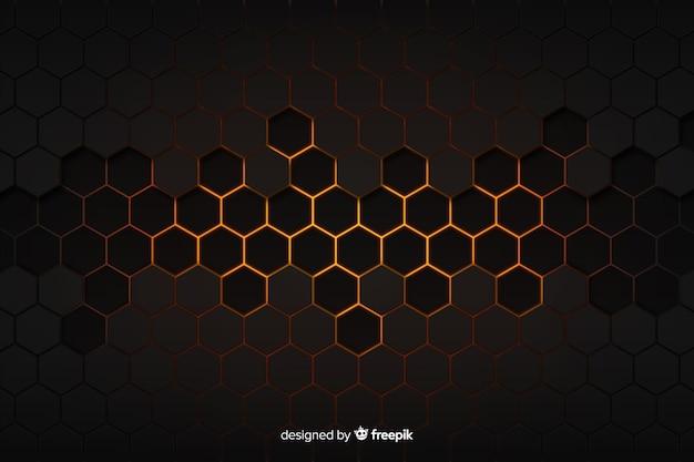 Sfondo nero e dorato a nido d'ape tecnologico