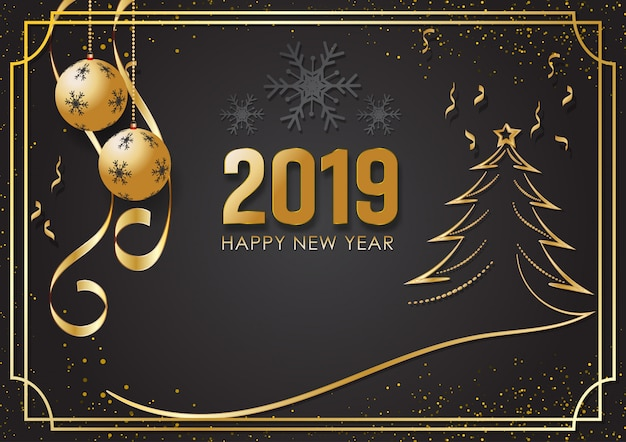 Sfondo nero e oro per happy new year 2019
