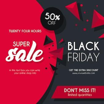 Sfondo nero e rosso di vendita per black friday