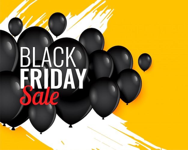 Sfondo nero palloncino venerdì per la vendita e la promozione