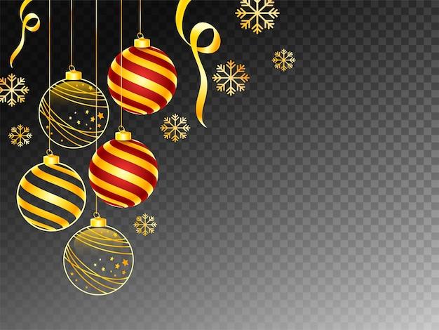 Sfondo nero png decorato con palle di natale appese e fiocchi di neve dorati.
