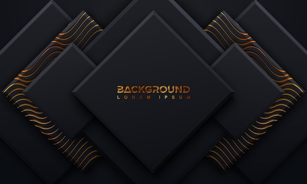 Sfondo nero strutturato con stile 3d e brillanti linee dorate ondulate.