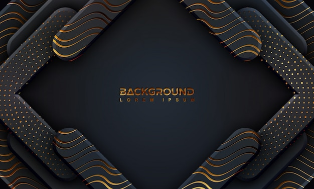 Sfondo nero strutturato con stile 3d e brillanti linee dorate.
