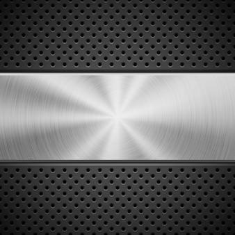Sfondo nero tecnologia astratta con cerchio perforato, struttura griglia dell'altoparlante e struttura circolare in metallo lucido, concentrica