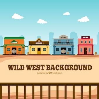 Sfondo occidentale piatto con edifici colorati