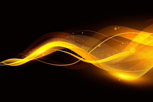 Sfondo onda splendente con particelle lucide