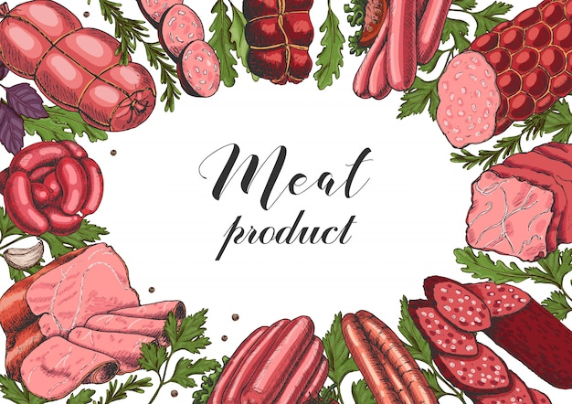 Sfondo orizzontale con diversi prodotti a base di carne di colore