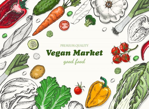 Sfondo orizzontale con verdure