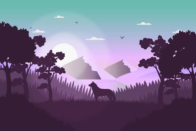 Sfondo orizzontale paesaggio selvaggio con alberi e cane