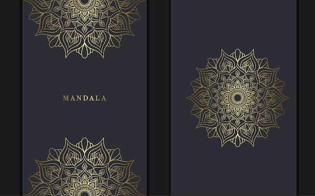 Sfondo ornato di lusso dorato mandala, copertina del libro con elemento mandala.