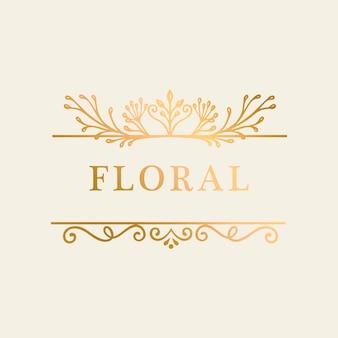 Sfondo oro cornice floreale