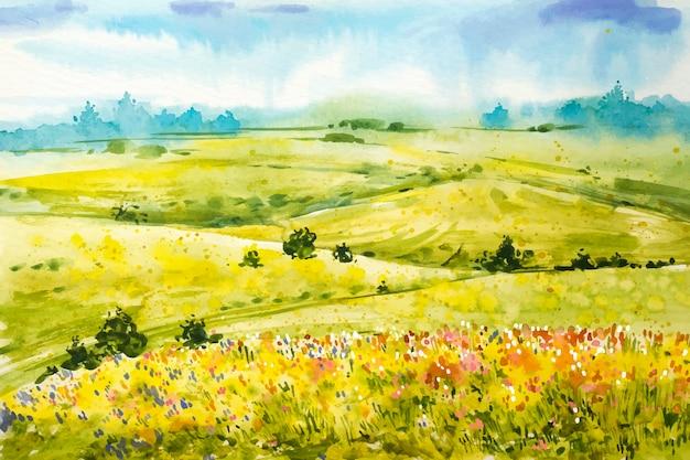 Sfondo paesaggio ad acquerello primavera