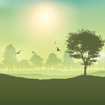 Sfondo paesaggio con alberi e uccelli