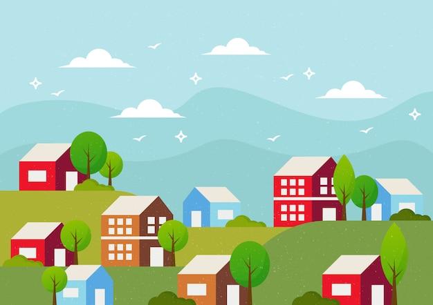Sfondo paesaggio con case