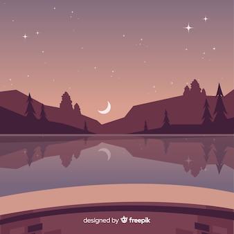 Sfondo paesaggio di montagne di notte stellata
