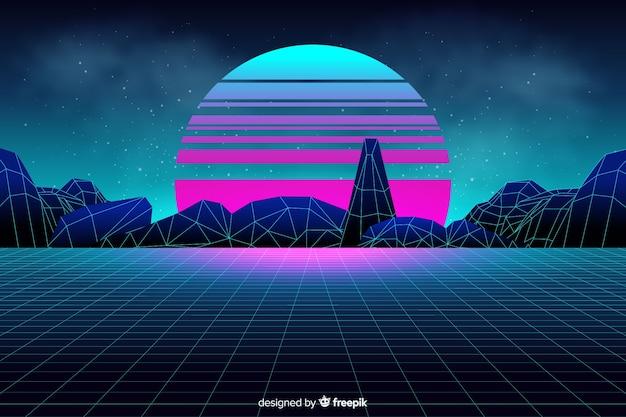 Sfondo paesaggio futuristico in stile retrò