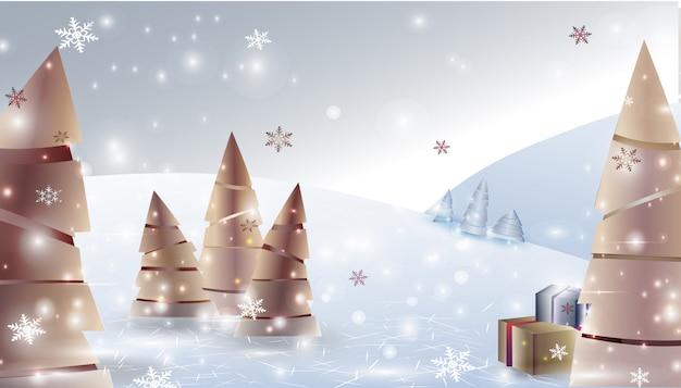 Sfondo paesaggio invernale di natale con alberi di natale, regali, fiocchi di neve