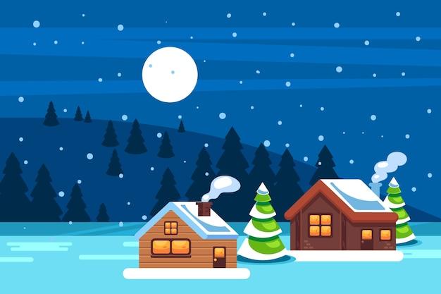 Sfondo paesaggio invernale innevato