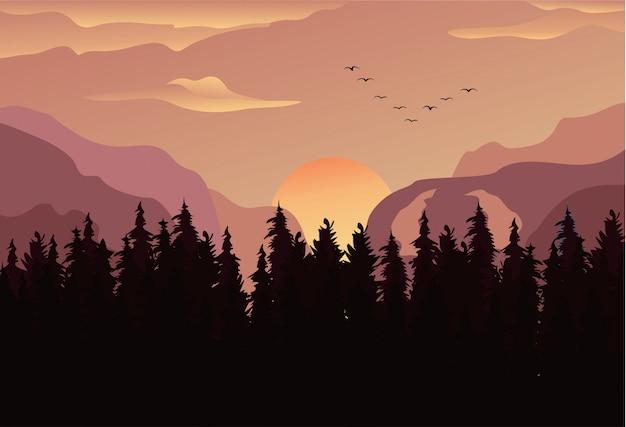 Sfondo paesaggio panorama foresta di pini