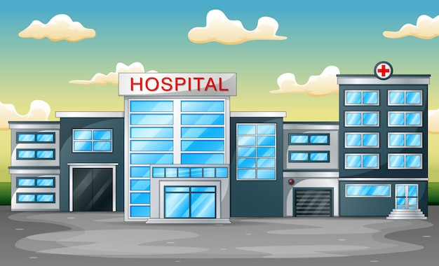 Sfondo panoramico con ospedale costruendo vista frontale